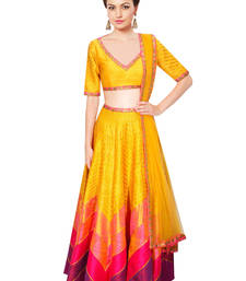 Buy Yellow and Pink Printed Raw Silk unstitched lehenga-choli lehenga-below-3000 online