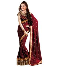 Buy Maroon embroidered georgette saree with blouse half-saree online