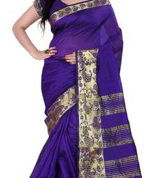 Buy blue woven art silk saree with blouse silk-saree online