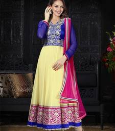 Buy Hypnotex Cream  Art Silk Georgette Dress materials dress-material online