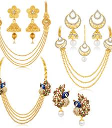 Buy Gorgeous Peacock Gold Plated Set of three Necklace Set Combo For Women jewellery-combo online