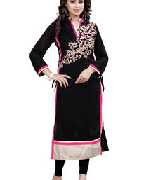 Buy Black Embroidered georgette A-line Kurti long-kurti online