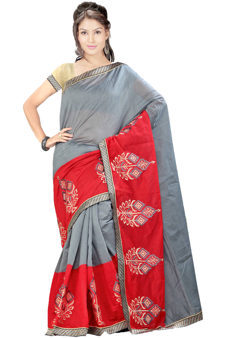 Buy Grey Embroidered Cotton Saree With Blouse Online