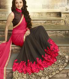 Buy red embroidered pure georgette saree With Blouse georgette-saree online
