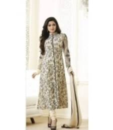Buy Cream georgette embroidered semi stitiched salwar with dupatta party-wear-salwar-kameez online