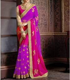 Buy purple embroidered  saree With Blouse bridal-saree online