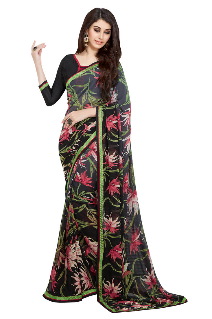 Buy multicolor embroidred faux georgette saree with blouse Online