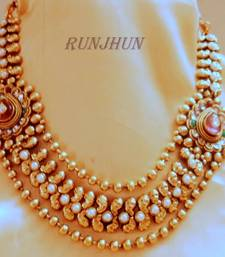 Buy gold platted polki necklace Necklace online