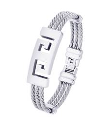 Buy Bracelet for Men Boys Silver Stainless Steel Rope Rhodium Plated men-bracelet online