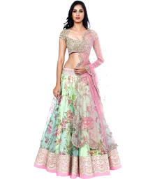 Buy PISTA PRINTED AND GOURGES LENGHA WITH CHOLI (PREMIUM QUALITY ) bridal-lehenga online