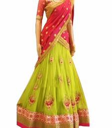 Buy lime  georgette embroided work fancy lahegha choli bridal-lehenga online