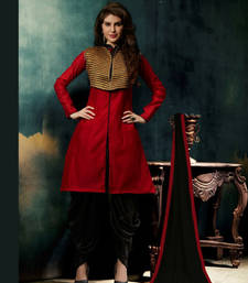 Buy RED & BLACK EMBROIDERED COTTON SEMI-STITCHED STRAIGHT SUIT salwars-and-churidar online