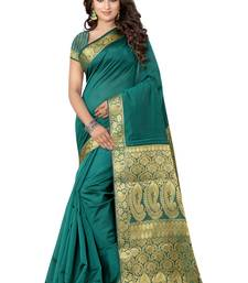 Buy sea green hand woven tussar silk saree With Blouse tussar-silk-saree online