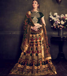 Buy Green and beige printed silk unstitched bridal lehengas bridal-lehenga online