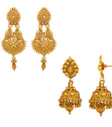 Buy Traditional Ethnic Gold Plated Floral Diya earring combo For Womenna danglers-drop online