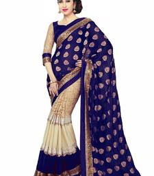 Buy Neavy Blue printed georgette saree with blouse party-wear-saree online