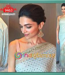 Buy Sky Blue embroidered georgette saree wtih blouse deepika-padukone-saree online