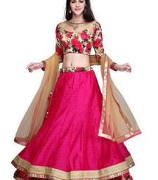 Buy Pink raw silk embroidered unstitched lehenga choli lehenga-choli online