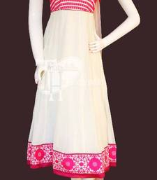 Buy White with red beautiful embroidery work replica party-wear-salwar-kameez online