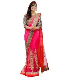 Buy Pink embroidered net saree with blouse designer-embroidered-saree online