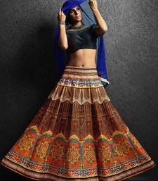 Multicolor tafeta silk Printed unstitched lehenga choli shop online