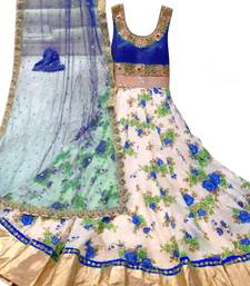 Buy Blue art silk embroidered semi stitched salwar with dupatta anarkali-salwar-kameez online