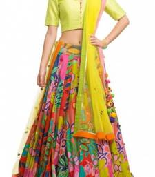 Buy multicolor georgette embroidered unstitched lehenga choli lehenga-choli online