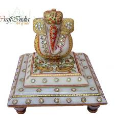 Buy eCraftIndia Lord Ganesha with Turban  on Marble Chowki painting online