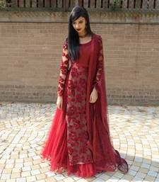 maroon embroidred Banglory lehenga women whith blouse shop online
