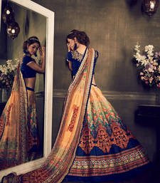 Buy Multicolour embroidered banglori silk unstitched multicolor lehengas ghagra-choli online