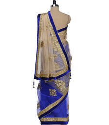 Buy PriyankaChopra Royal Blue and Golden  net Replica saree priyanka-chopra-saree online