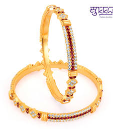 Buy Sukkhi Gold Plated Color Stone Bangels Diwali gifts bangles-and-bracelet online