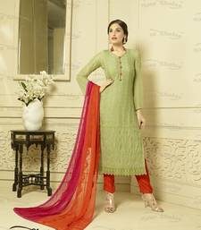Buy Light Green georgette embroidered semi stitiched salwar with dupatta pakistani-salwar-kameez online