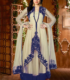 Buy Cream and Blue net embroidered semi stitiched salwar with dupatta eid-special-salwar-kameez online