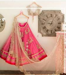 Buy Pink georgette unstitched lehenga with blouse ghagra-choli online