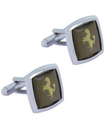 Buy Horse Glossy Rhodium Plated Square Grey Gold Cufflink Pair For Men gifts-for-boyfriend online