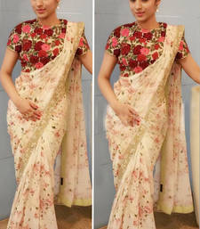 Buy White embroidered georgette saree With Blouse other-actress-saree online