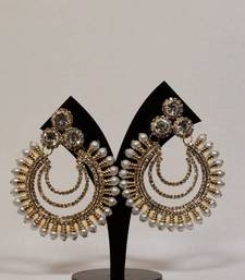 Buy Light Weigth Sensational Earrings in Golden Color with Pearls hoop online