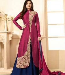Buy Pink and dark blue banglori silk embroidered semi stitched salwar with dupatta anarkali-salwar-kameez online