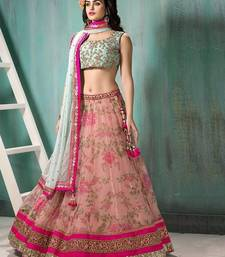 Buy PINK embroidered net unstitched bridal-lehengas bridal-lehenga online