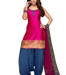 Buy Pink cotton silk printed semi stitched salwar with dupatta punjabi-suit online