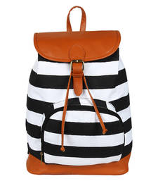 Buy Black and  white canvas delicia backpack backpack online