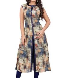 Buy Grey georgette printed semi stitched kurti ethnic-kurti online
