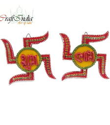 "Buy eCraftIndia Papier-Mache Swastika Shubh-Labh Wall Hanging12""x1""x6"" other-home-accessory online"