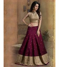 Buy maroon embroidered banglori unstitched bridal-lehengas bridal-lehenga online
