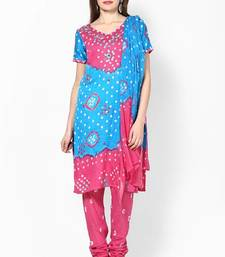 Buy Amazing Pink Cotton Bandhej Dress material cotton-salwar-kameez online