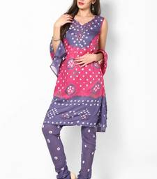 Buy Pink Grey Cotton Unstitched Salwar Suit Material dress-material online