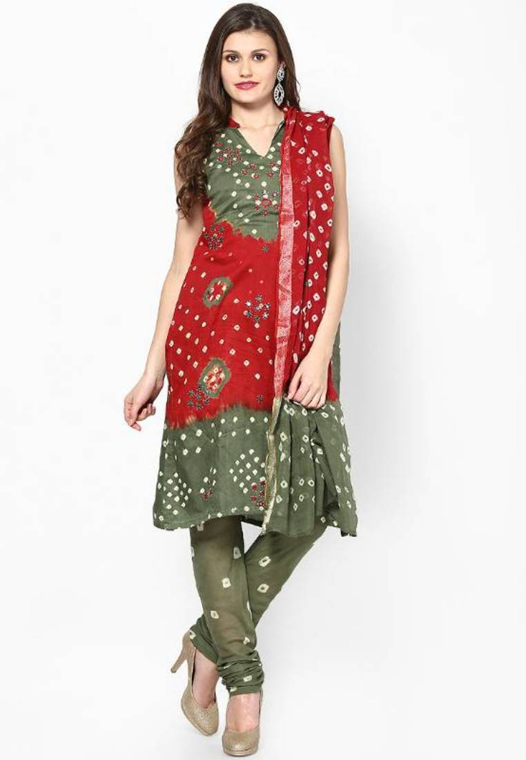Buy Beautiful Red Green Cotton Bandhej Dress Material Online