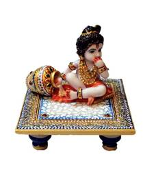 Buy eCraftIndia Laddu Gopal on Blue Marble chowki other-home-accessory online