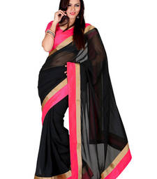 Buy Fabdeal Black Colored Georgette Plain With Lace Border Saree georgette-saree online